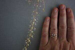 Image of 18ct Rose Gold Laurel leaf carved 'wishbone' ring
