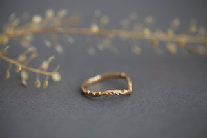 Image of 18ct Rose gold 2mm Floral  carved 'Wishbone' ring