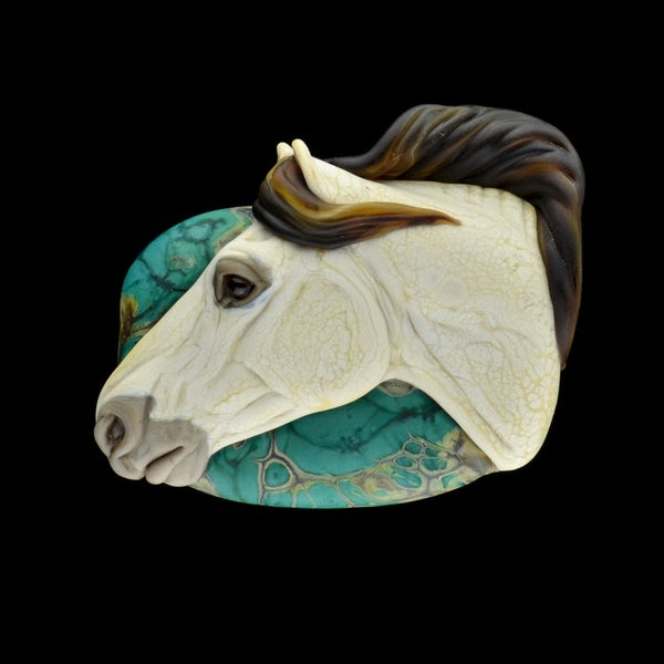 Image of XL. Diego - Pale Buckskin Spanish Andalusian - Flameworked Glass Sculpture Bead