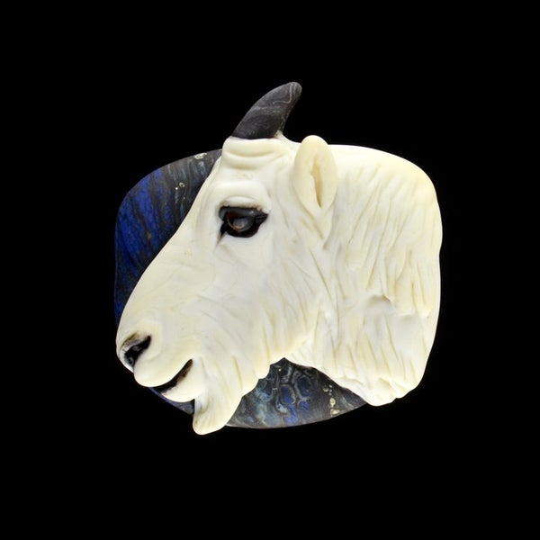 Image of XL.Rocky Mountain Goat - Flameworked Glass Sculpture Bead