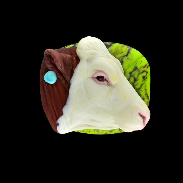 Image of XL. Hereford Cow - Lampwork Glass Sculpture Pendant Bead