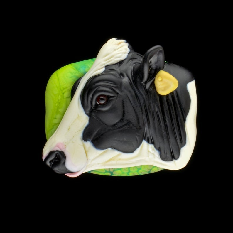 Image of XXL. Holstein Cow - Lampwork Glass Sculpture Pendant Bead
