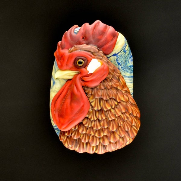 Image of XL. Alert Rhode Island Red Rooster - Lampwork Glass Sculpture Focal Pendant Bead