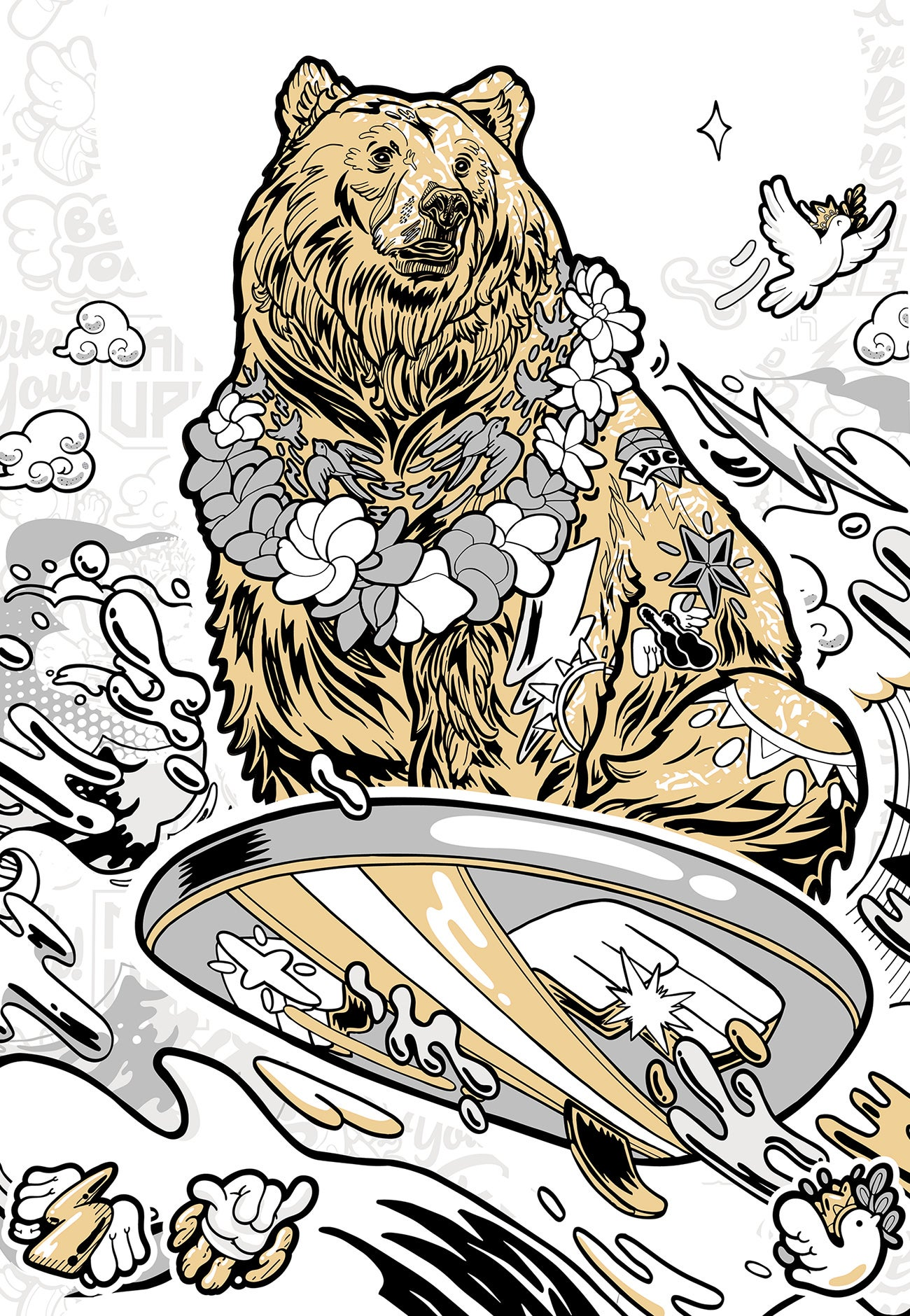 Image of SURFING BEAR