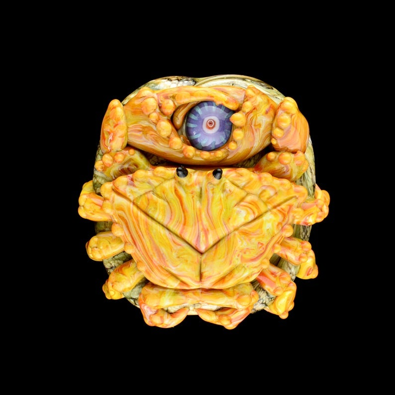 Image of XL Streaky Gold Crab - Flamework Glass Sculpture Pendant Bead