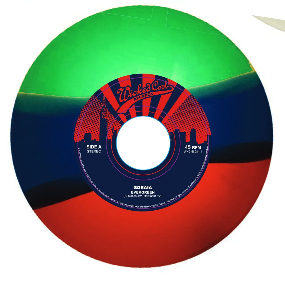 "Image of ""Evergreen"" b/w ""Rebel Rebel"" on tricolor vinyl (signed by us w/preorders!)"