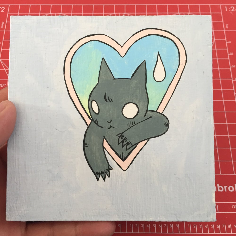 Image of Cat in Heart Painting