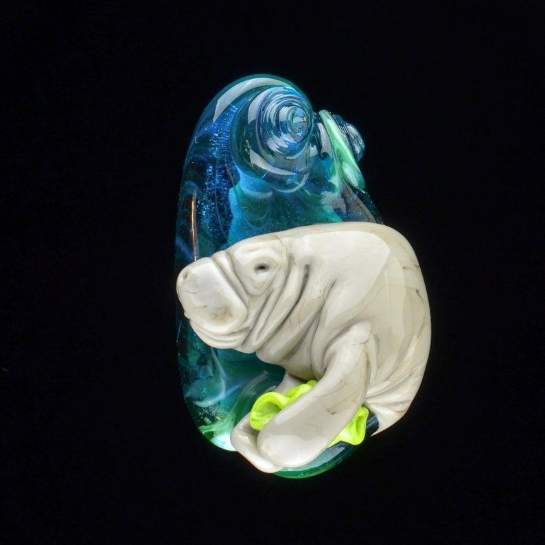 Image of XXL Manatee - Lampwork Glass Sculpture Pendant Bead