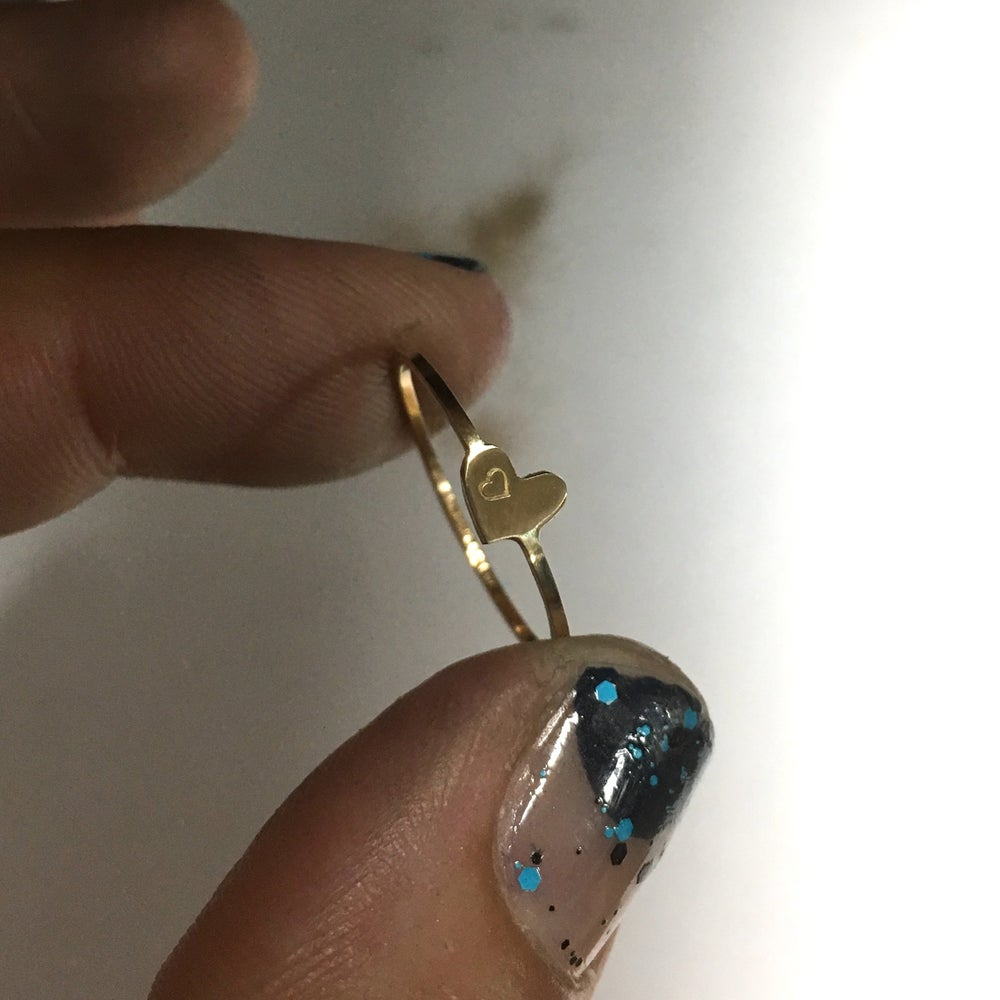 Image of dainty heart gold ring