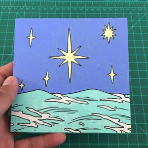 Image of Stars over Waves Painting