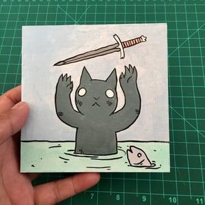Image of Cat receiving Sword Painting