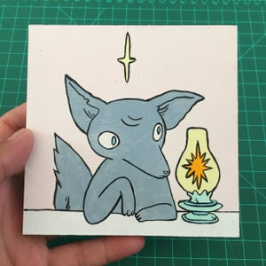 Image of Fox With Lantern Painting