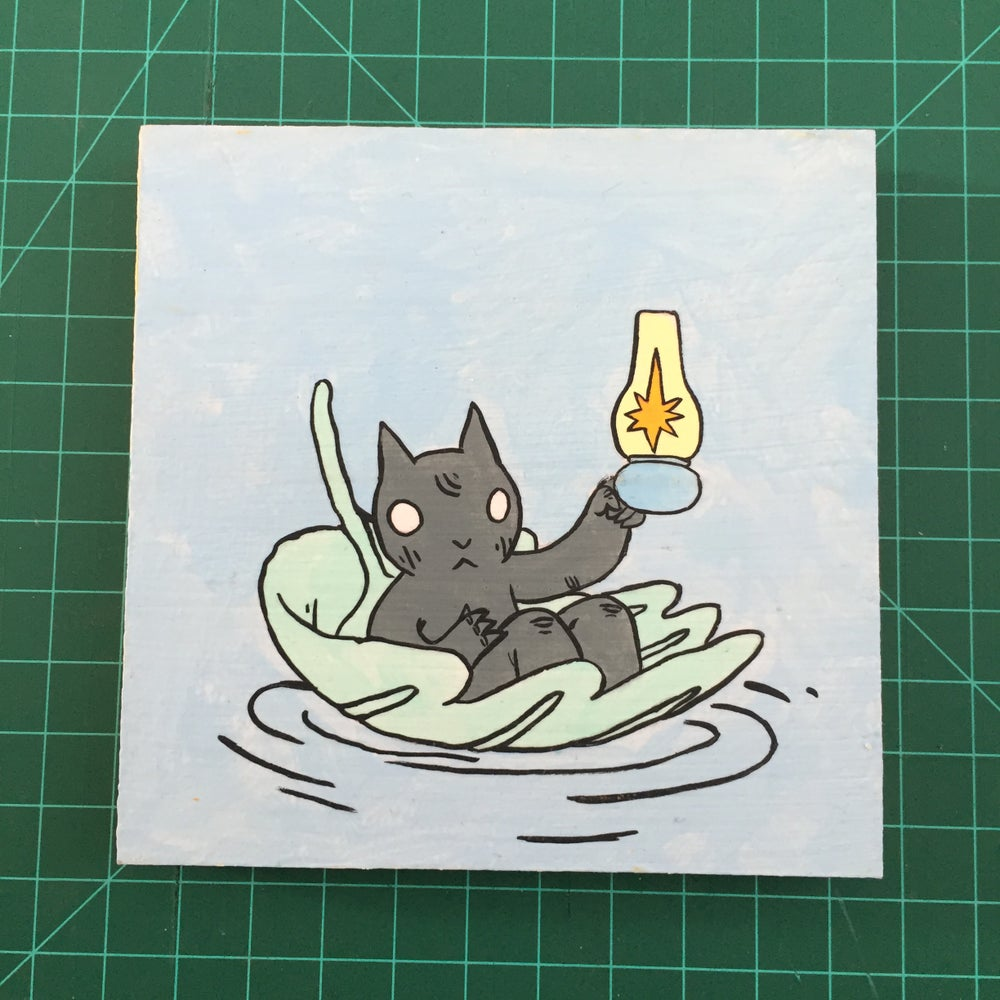 Image of Cat Floating on Leaf Painting