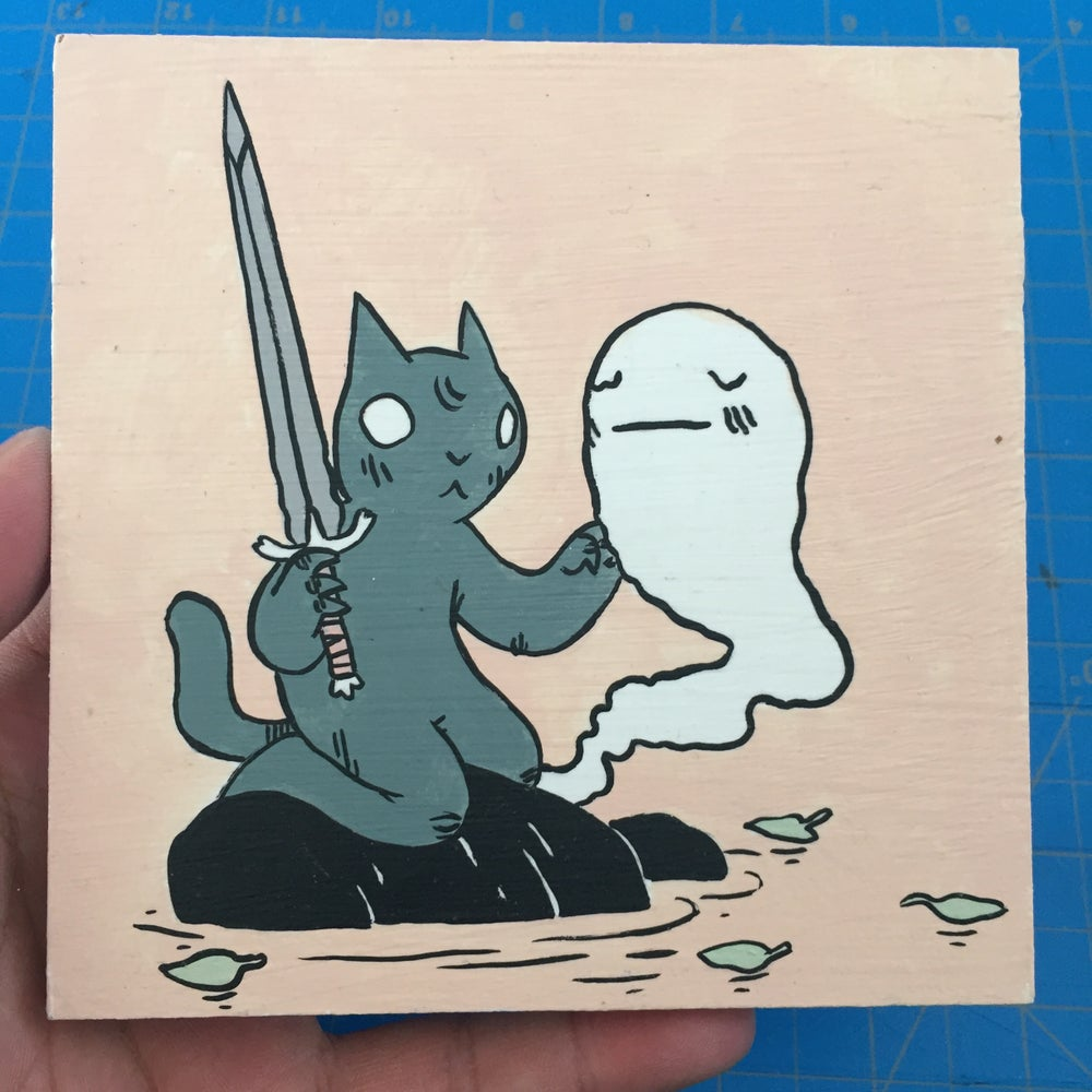 Image of Cat with Sword and Ghost Painting