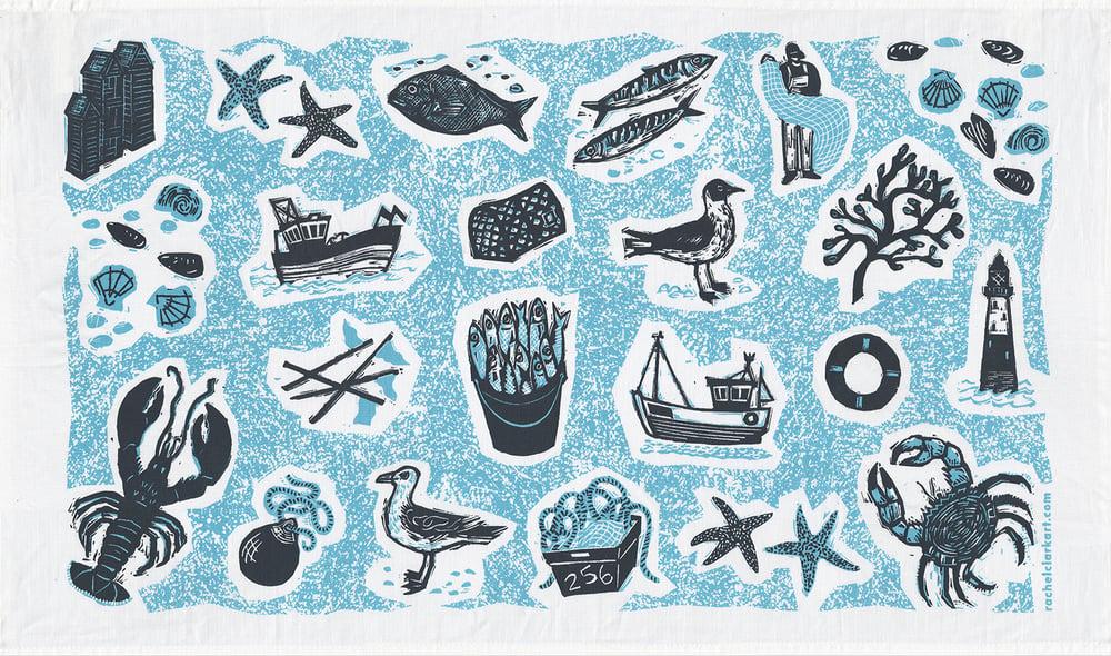 Image of 'Fishing' tea towel