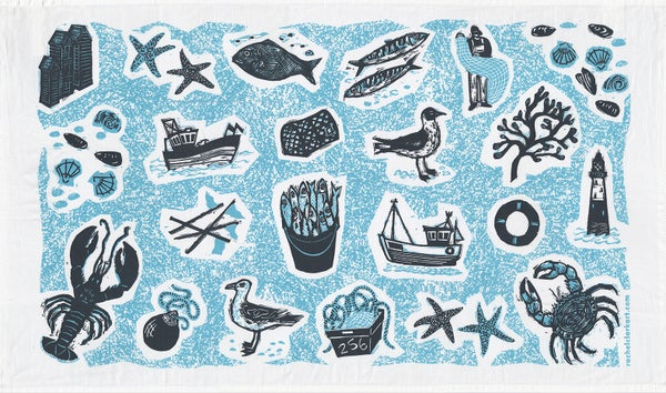 Image of 'Fishing' tea towel