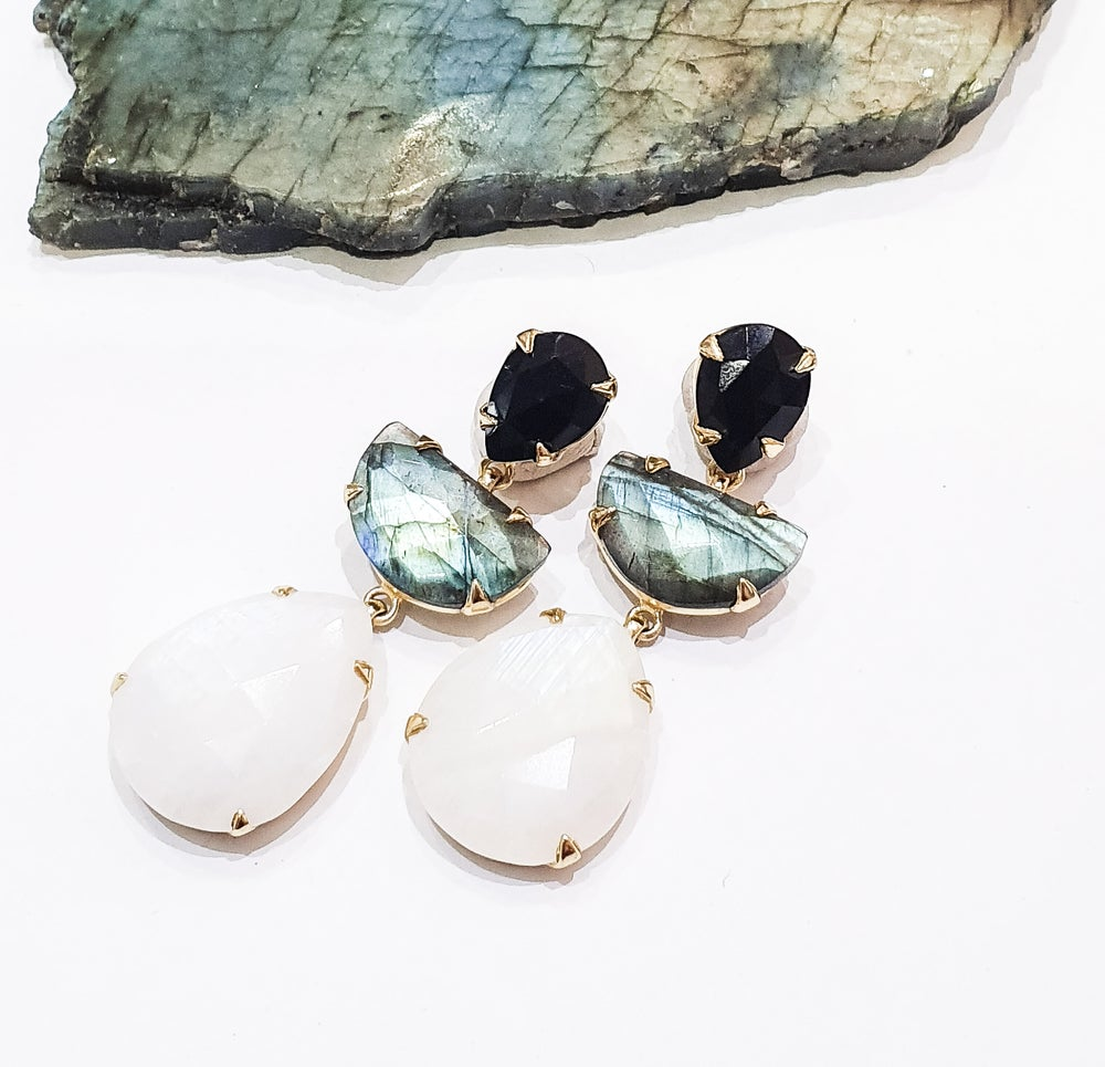 Image of Onyx, Moonstone and Labradorite Statement Earrings