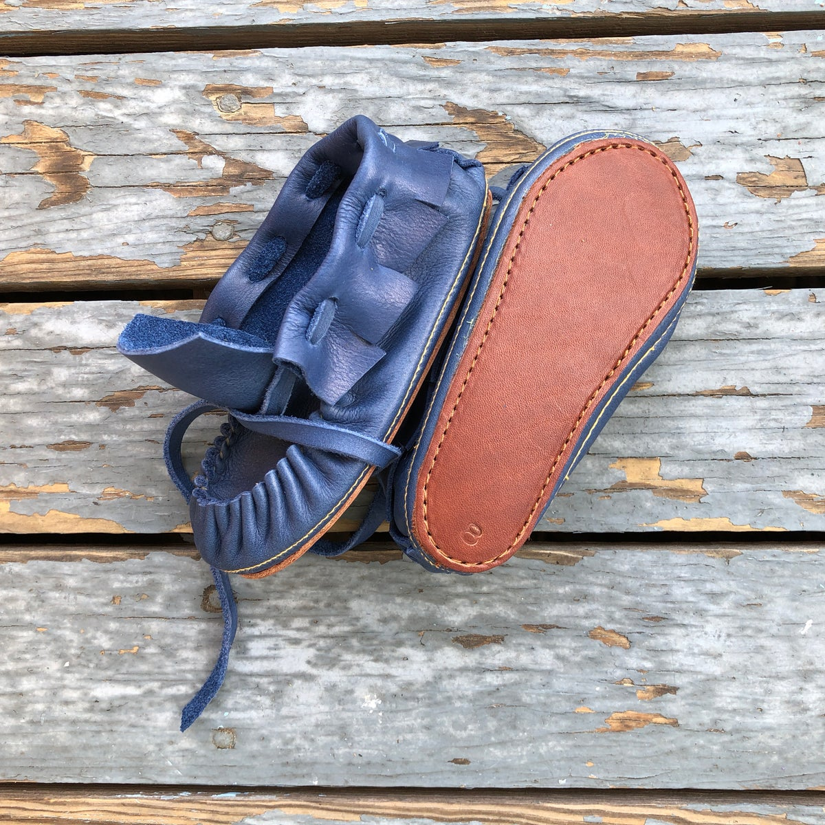 Image of Child's Moccasin Bootie - Inky Blue