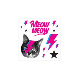 Image of bowie furrever temporary tattoo sheet - cat tattoos - bowie cat - meow meow