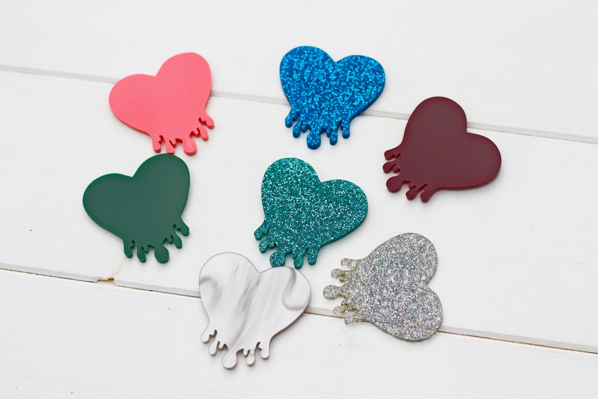 Image of Sample Sale Drippy Heart Brooches Colours