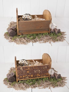 Image of Reclaimed Mini CUBBY Wood Bed - Round Headboard/Footboard - Newborn Sitter Photography Prop