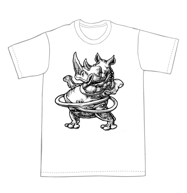 Hula Hooping Rhino T-shirt  (B3)**FREE SHIPPING**