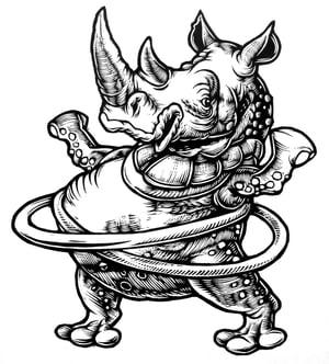 Image of Hula Hooping Rhino T-shirt **FREE SHIPPING**