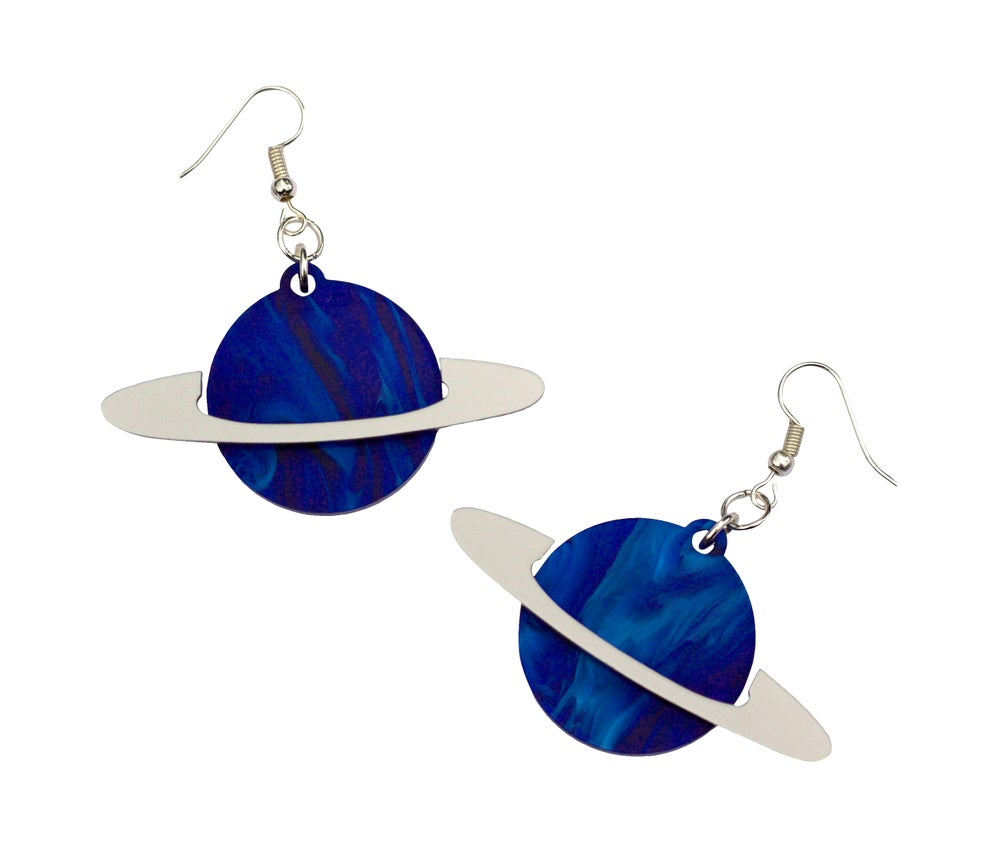 Image of Marble Blue Ring Planet Earrings