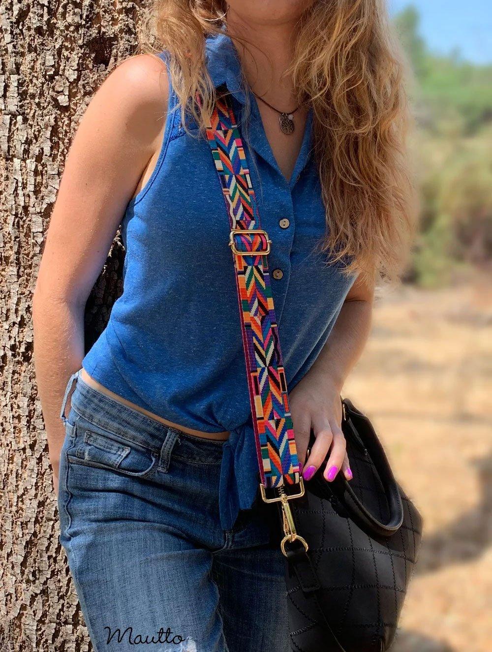 Image of Colorful Geometric Strap for Handbags - Tribal Native Couture Design - Adjustable Shoulder-Crossbody