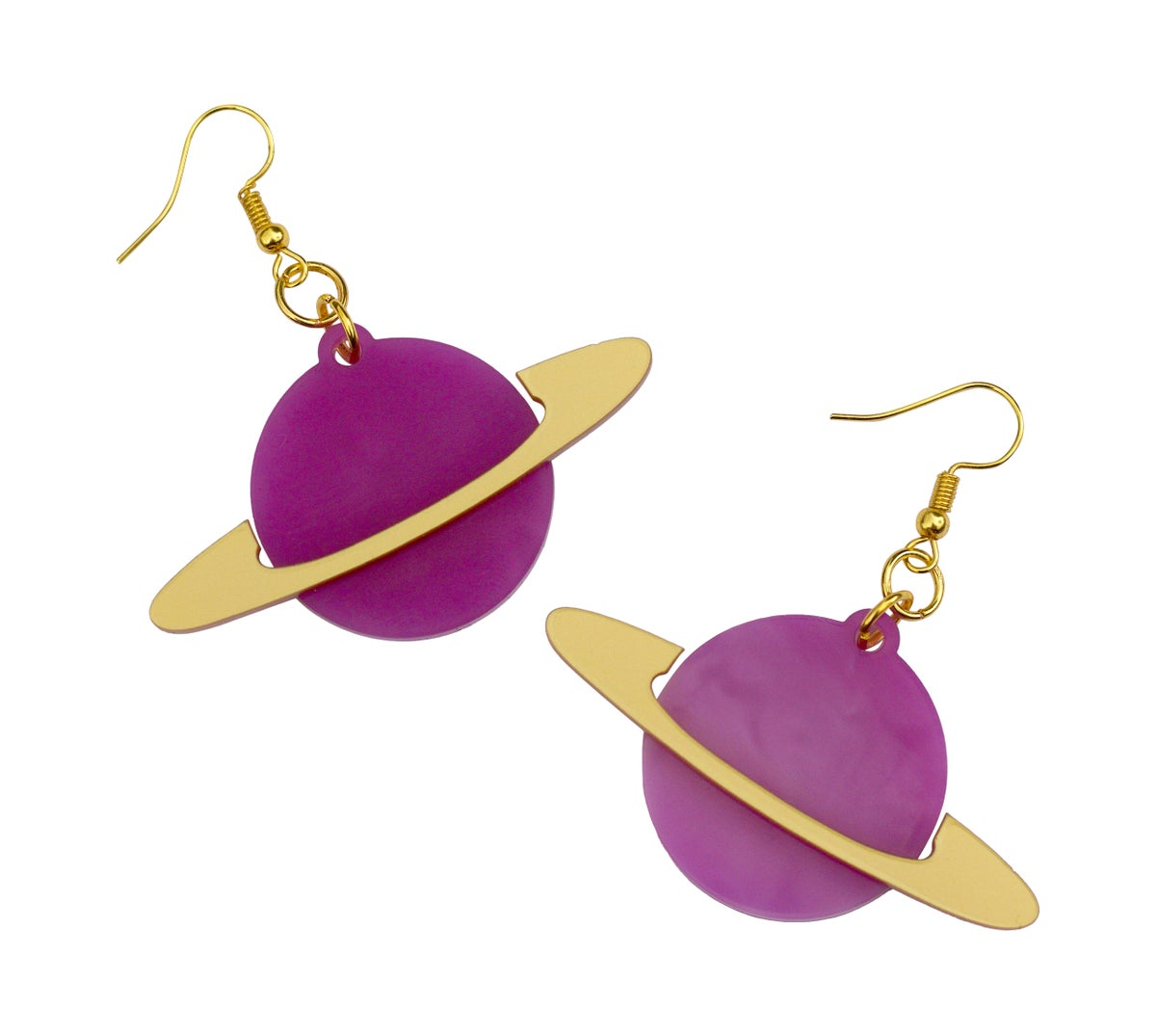 Image of Marble Purple ring Planet Earrings