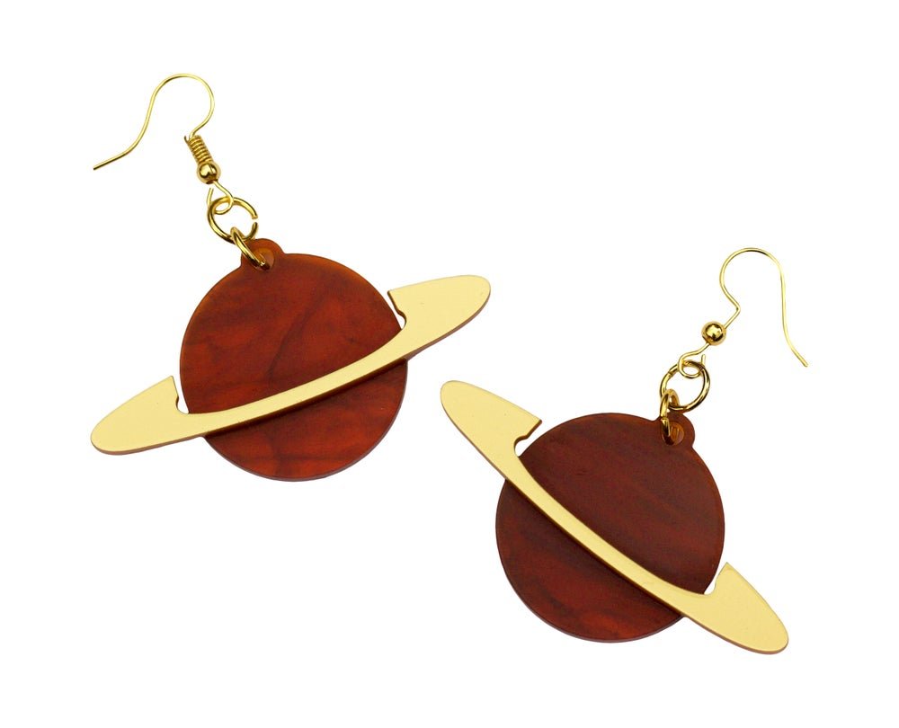 Image of Tortoiseshell Ring Planet Earrings