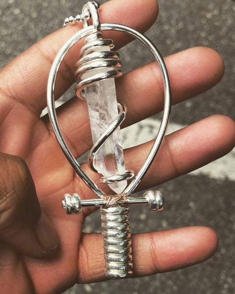 Image of Fully Wrapped .999 Solid Fine Silver (99% Pure) Clear Quartz Ankh