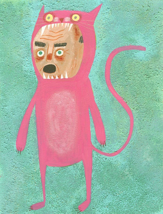 Image of Self-portrait in a cat suit. Original painting.