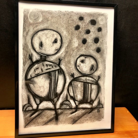 Image of Kevin Seconds ORIGINAL 9x12Charcoal/Paper, 'I'll Bring A Hammer, You Can Choose The Body Part'
