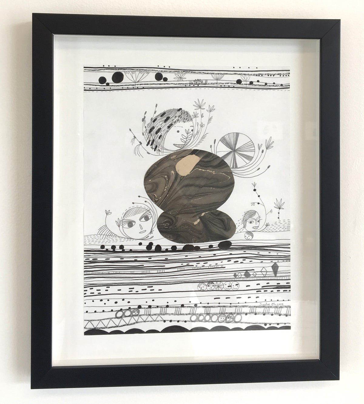 Image of Building Stones - framed drawing