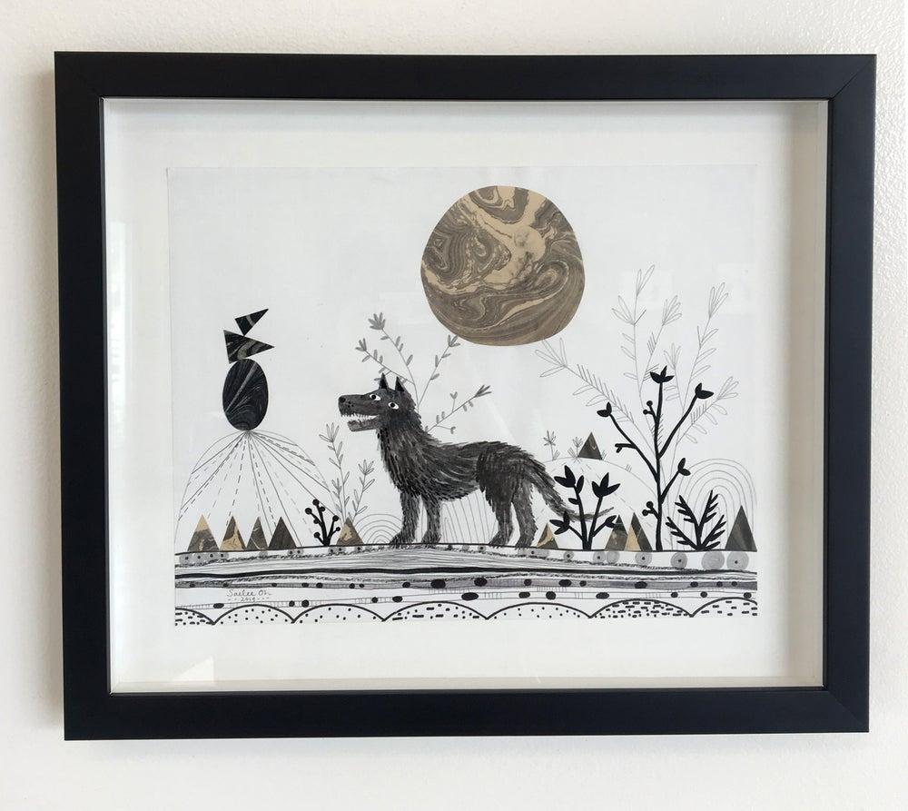 Image of Wolf Moon - framed drawing