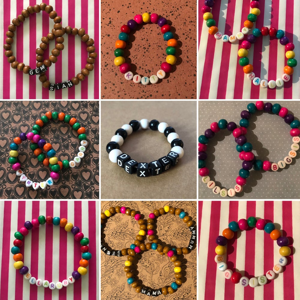 Image of Personalised Wooden Bead Bracelet or Necklace