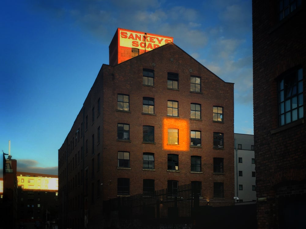 Image of Sankeys Soap, Ancoats, dusk.