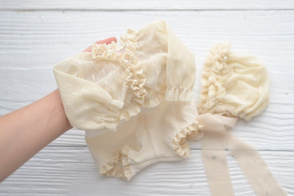 Image of Irene romper and bonnet set / two sizes