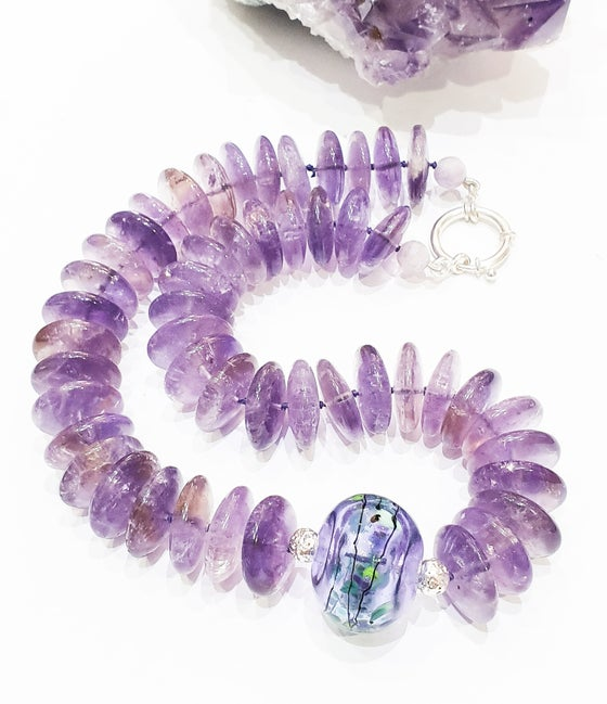 Image of Ametrine and Hand Blowen Glass Necklace