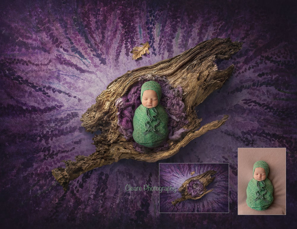 Image of newborn digital background - hand painted lavender backdrop and natural wood bowl