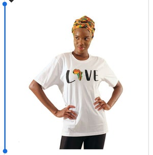 Image of I love Africa Headwrap & Embroiled T Shirts Set