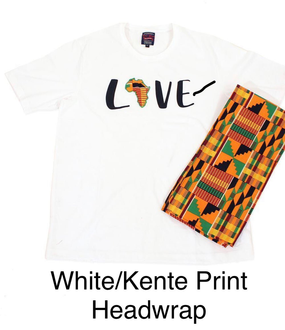I love Africa Headwrap & Embroiled T Shirts Set