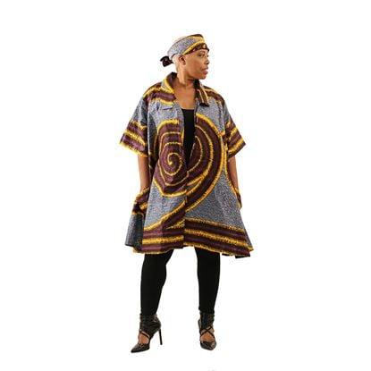 Image of Black/Orange/Maroon  African Spiral Print Jacket