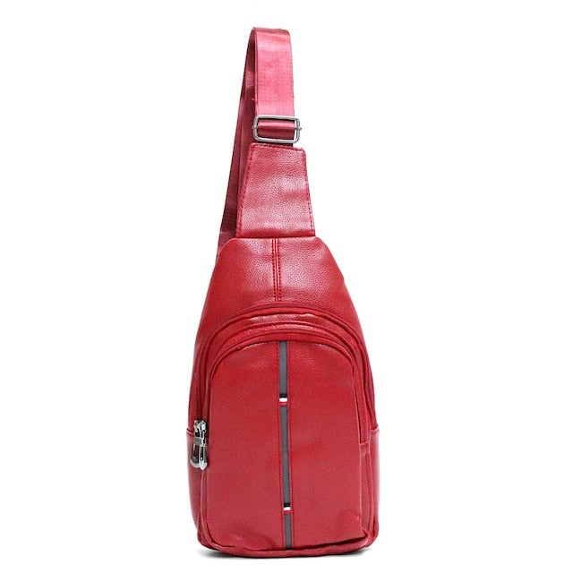 Image of Red Crossbody Leather Sling Bag Backpack with Adjustable Strap