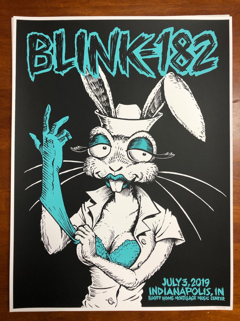 """Image of BLINK-182 July 3 2019 Indianapolis 18"""" X 24"""" silk screened Poster Numbered and Limited to 175"""