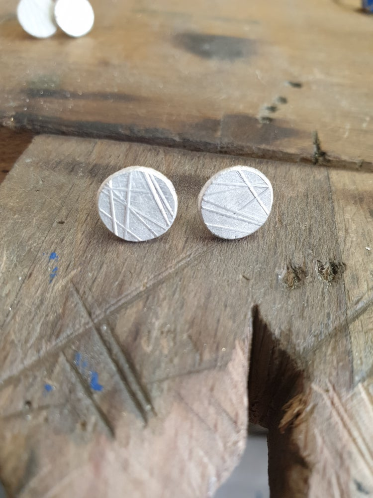 Image of Textured silver studs