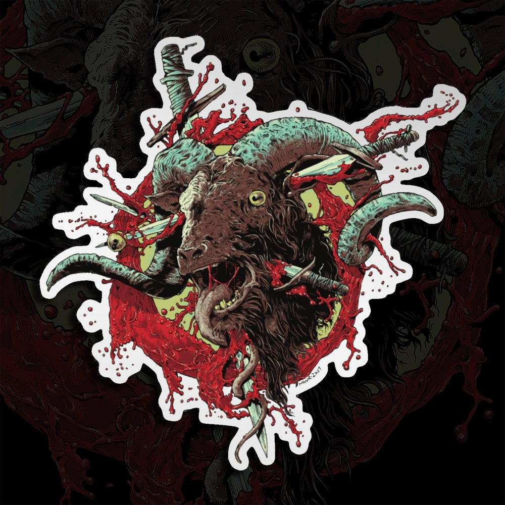 Image of Severed Ram Head Mirror Sticker