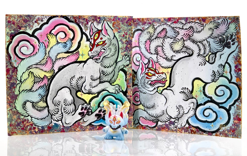 "Image of Kyuubi Painting and 3"" Dunny"