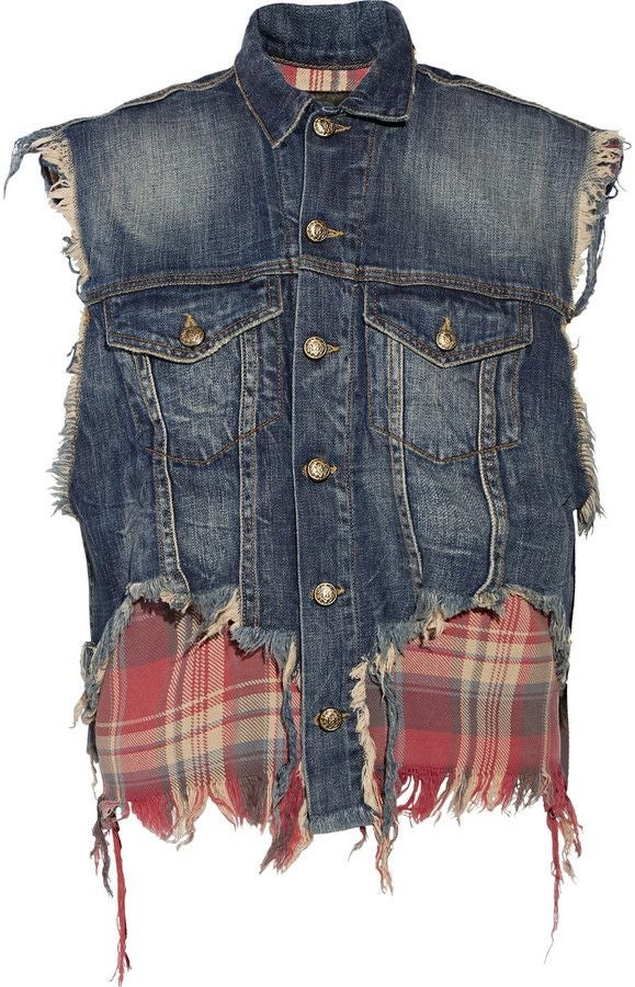 Image of R13 DENIM DISTRESSED VEST